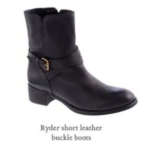 J. Crew Ryder short leather boots moto buckle